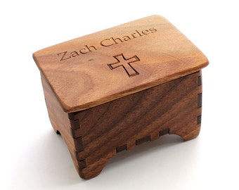 Miniature Keepsake Rosary Box -Black Walnut with Cross Lid & Custom Name Engraving