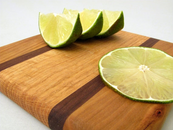 Small Cherry Wood Cutting Board - The Fiesta - Cherry and Red Oak Wood with Black Walnut Accents . Timber Green Woods