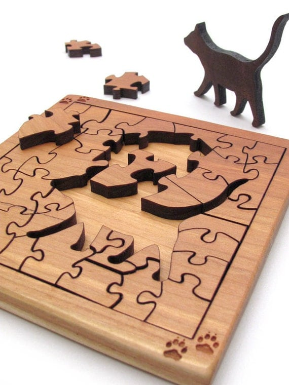 Mini Cat Puzzle - Sustainable Harvest Black Cherry and Walnut - Food Safe Oil Finish . Timber Green Woods