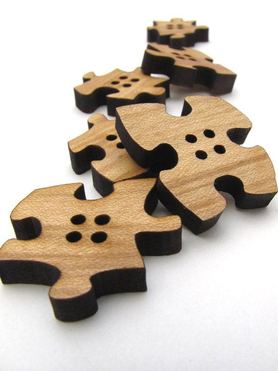 Wood Buttons - Six Puzzle Piece Buttons Laser Cut from Sustainable Harvest Wisconsin Wood . Timber Green Woods