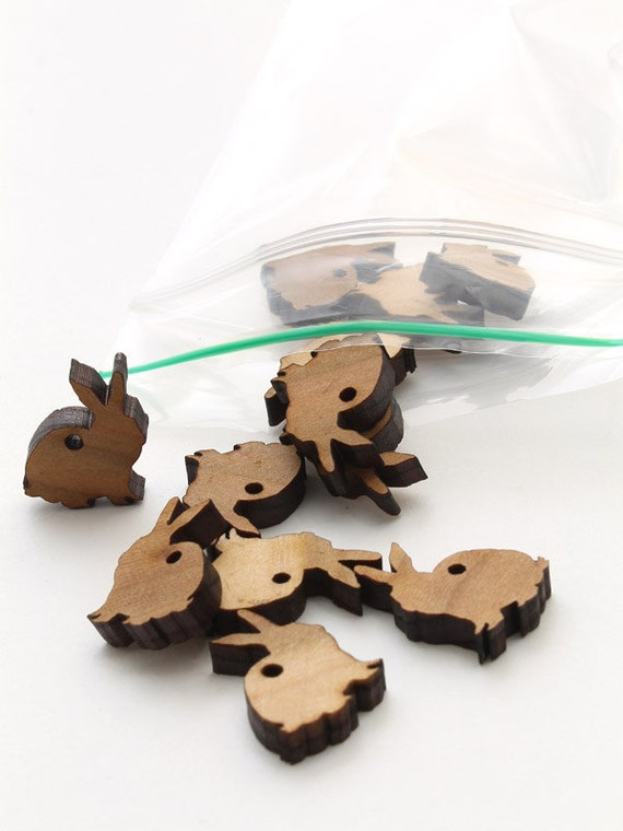 Spring Mini Bunny Beads - Itsies - Laser Cut Wood Rabbits  - Free Shipping . Timber Green Woods Sustainable Forestry Products
