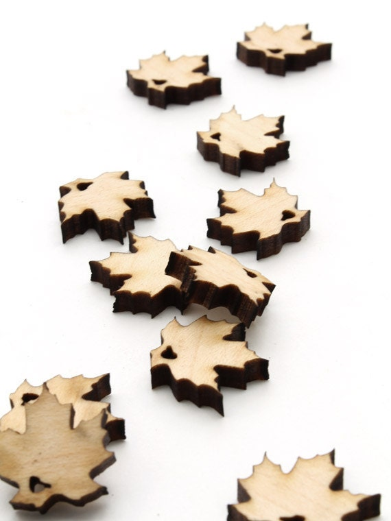 Spring Mini Sugar Maple Leaf Beads - Itsies - Laser Cut Wood   Timber Green Woods Sustainable Forestry Products