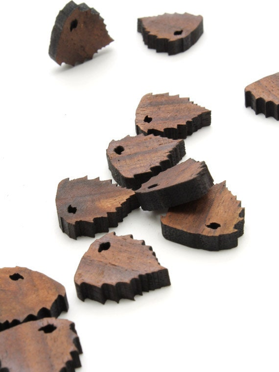 Mini River Birch Leaf Beads - Itsies - Laser Cut Wood  Timber Green Woods Sustainable Forestry Products