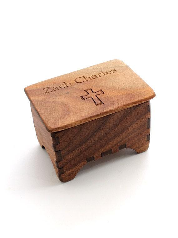 Miniature Keepsake Rosary Box -Black Walnut with Cross Lid & Custom Name Engraving