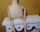 "18"" Muslin Cloth Mable Doll Body primitive form-blank"