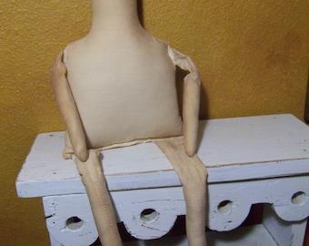 "18"" Muslin Cloth Mable Doll Body primitive form-blank"