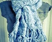 Mottled Blue Hand Knit Fringe Scarf - Made by Memere