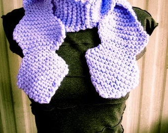 Purple Wavy Hand Knit Short Scarf, cowl, geometric, soft - Made by Memere