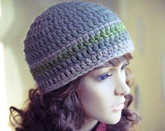 Crocheted Beanie Hat, Greenish Grey, Green, Beige, Neutral, Wool, Warm, Crochet, Unisex - Made by Kim