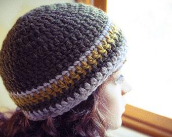 Crocheted Beanie Hat, Olive Green, Gold, Beige, Wool, Warm, Crochet, Unisex - Made by Kim