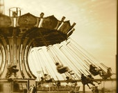 Hang On- a spinning carnival ride with a vintage look in sepia, Fine Art Carnival Photograph, 8x8 print, Handmade Philly Team