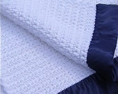 Crocheted Baby Blanket - White with Navy Blue Sating Binding - Warm & Soft - Crochet Knit - Ready To Ship