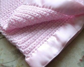 Baby Blanket - PINK - Warm & Soft - Crochet Knit Heirloom - Handmade- Ready to Ship