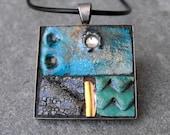 PEACOCK PLUMAGE - Mosaic art pendant