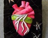 MORTALITY - Anatomical Heart Sculpture mosaic ATC ACEO