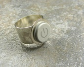 Power Up Ring - Recycled Mac Key and Silver Plated