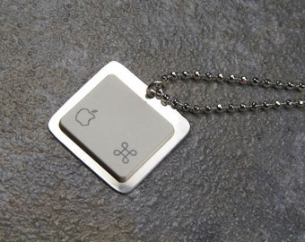 Apple iNecklace - Sterling Silver Recycled Computer Jewelry - sterling plated chain