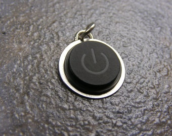 Power Up - Recycled MAC Power Button - Pendant, Sterling Silver, gift for guys, apple, handmade
