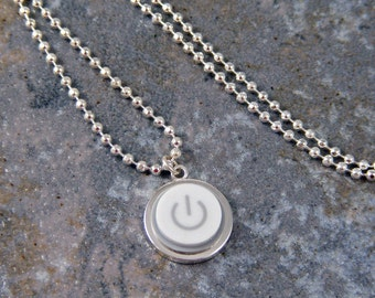 Power Up - Sterling Silver Plated, Recycled, MAC, Apple Computer, Power Button Necklace -  Sterling Silver Plated Chain