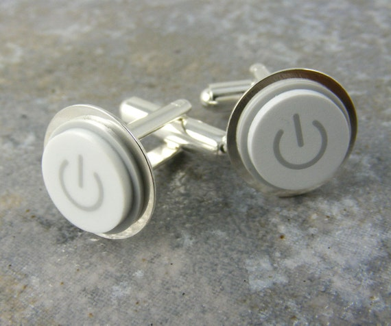 Power Up Cuff Links, White Mac Power Buton, Recycled, Apple, Techie, Wedding, Anniversay, Birthday, Gift, Men, power button jewelry