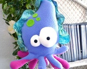 Thomas hand puppet Sepiasito . a amazing blue, green and purple cuttlefish. plush puppet sea monster