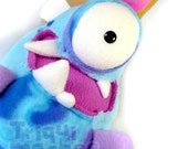 Rosster  Monster Carcolito . a Cool Blue snail monster.  Bug plush