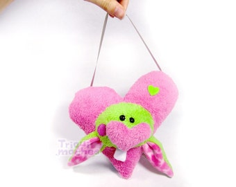 Sandy. Animaliko heart mobile. pink green cute heart rabbit. special St Valentine's Day