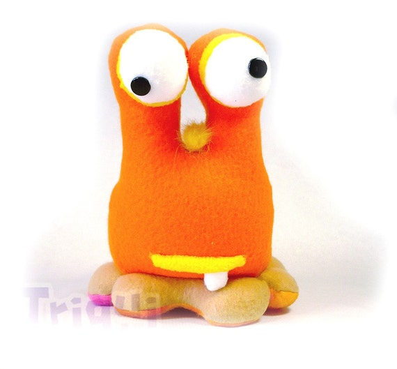 Iliana Monster Babooba . a crazy orange slug monster. Bug plush