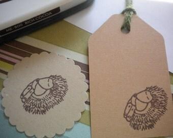 Sleeping Hedgehog Olive Wood Stamp