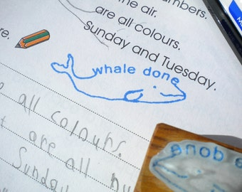 Teacher's Whale Done Olive Wood Stamp