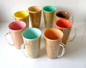60s Thermo Temp tailgate party drink set - pitcher plus 8 cups - never used old stock 1950s 60s Mad Men era