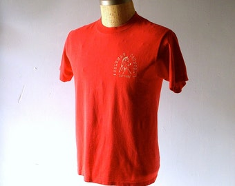 Vintage 1970s Cotton TShirt - Coleman Country Day Camp - Nicely Worn Retro 70s All Year Shirt - size Medium 38/40 chest