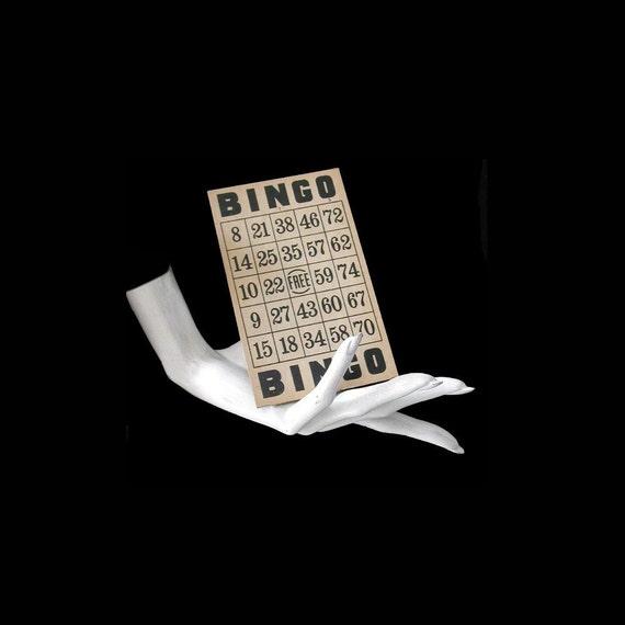 50s BINGO cards (set of 25) vintage thick cardboard great patina / Game night chic Mad Men era