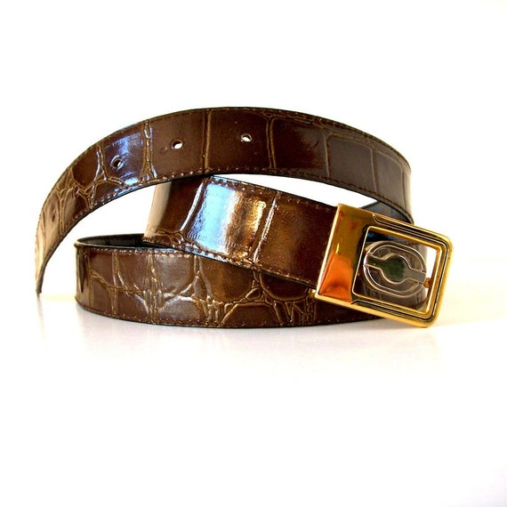 Fathers Day gift - alligator belt faux crocodile reversible black/ brown 33 to 36 waist - like new - brass buckle