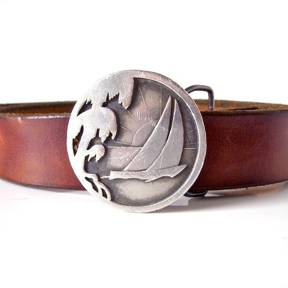 fathers day - sailboat belt buckle - Frank Clegg belt - pewter Indiana Metal Craft - 1977 - American leather craft