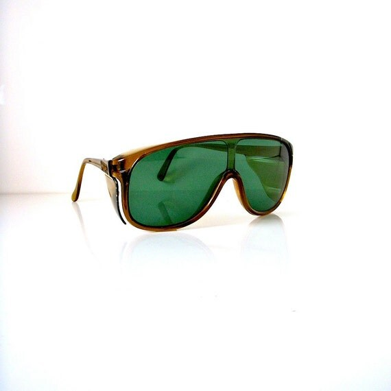 70s aviator style sunglasses/ safety glasses by Spectra/ green
