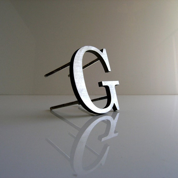 vintage steel letter G - gift for Greg Garrett Ginnie Ginger Gabbagale Gowanus or Geronimo - mounts on wall/stands