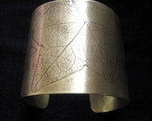 Ivy Cuff Bracelet Embossed or Etched with Antiqued Brass