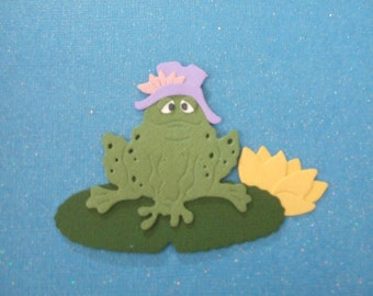 Cute Frog On A Lilly Pad Die Cuts