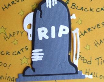 Halloween Die Cuts - Skeleton Behind Tombstone  - Set of 3