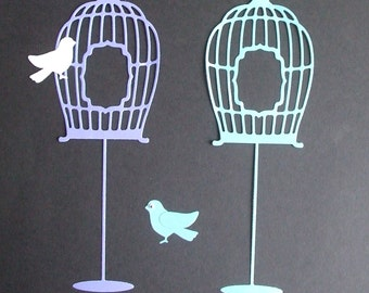 Pretty Standing Birdcages  - Birds - Pearlescent -  2 Sets