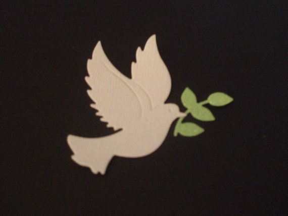 Pretty Dove with Olive Branch Die Cut - Bling and Glitter -  Wedding - Peace