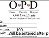 Gift Certificate from Ocean Phoenix Designs on Etsy
