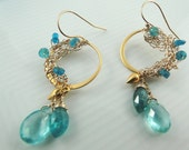 Romantic Vermeil and Gold Filled Earrings with Vivid Blue Apatite Gemstones