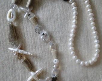 Deer Antler Necklace with Pearls and Gemstones by Ocean Phoenix Designs on Etsy