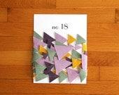 no. 18 geometric triangle wool felt bunting in lilac, fern, mustard, and vineyard (one of a kind)