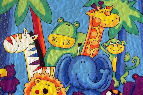 Baby Quilt Colorful Jungle Animals