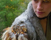 Lilitu Feather Epaulette/ Vintage Military Inspired Fall Fashion Accessory/ 071