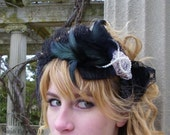 Black Feather and Lace Bow Headband /LOLITA Headband / Glass Pearls Pink and Black Lace/ 051