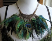 20% off Holiday Sale/ SALOME'S Dance Necklace/ Peacock Feather and Copper Breast Plate Necklace Miss CT USA Pageant